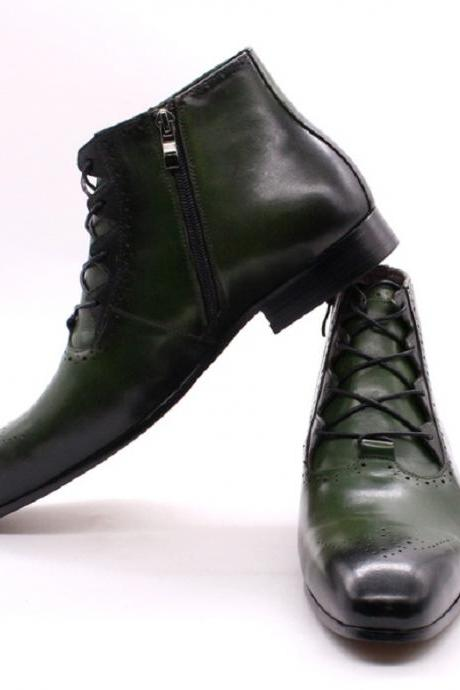 Customize Oxford Patent Brogue Toe Green Patina Cowhide Leather Handmade Men Zippered Formal Dress Ankle Boots