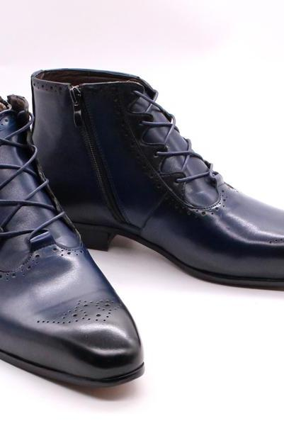 Made To Order Oxford Patent Brogue Toe Blue Patina Cowhide Leather Handmade Men Zippered Formal Dress Ankle Boots