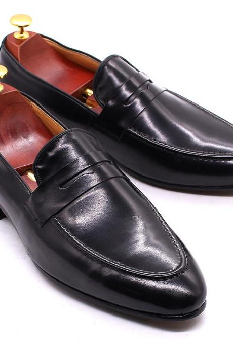 Made To Hand Penny Loafer Black Patent Moc Toe Real Cowhide Leather Men Formal Pull On Wedding Shoes
