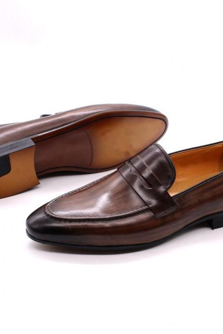 Customize Dark Brown Patina Penny Loafer Moc Toe Genuine Cowhide Leather Men Formal Pull On Party Shoes
