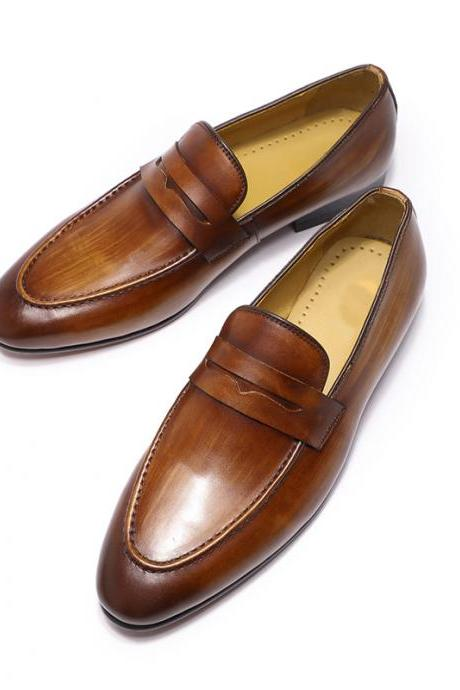 Handmade Tan Brown Patina Penny Loafer Apron Toe Genuine Cowhide Leather Men Formal Slip On Dress Shoes
