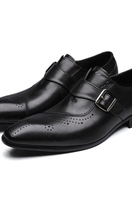 Handmade Monk Strap Brogue Toe Premium Cowhide Leather Buckle Strap Men Formal Dress Shoes