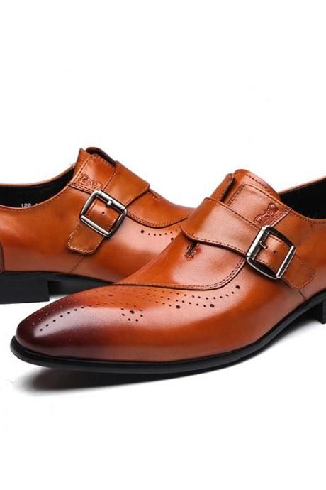 Customize Tan Brown Monk Strap Brogue Toe Pure Cowhide Leather Handmade Buckle Strap Men Formal Dress Shoes