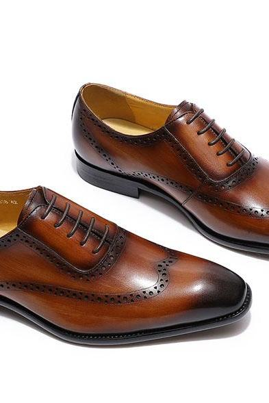 Oxford Wooden Brown Patent Pure Cowhide Leather Men Handmade Wingtip Formal Lace Up Dress Shoes
