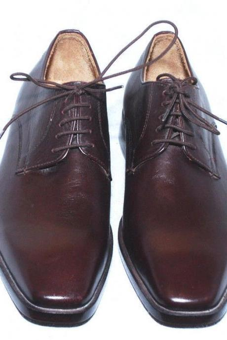 Handmade Mens Brown Color Leather derby Dress Formal Shoes