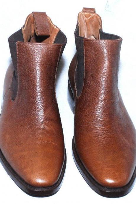 Handmade Mens Brown Chelsea Formal Leather Dress Shoes with Double Color Shade