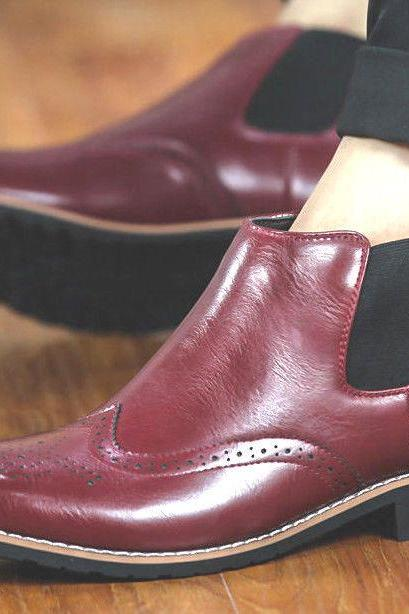 Handmade Mens Fashion Genuine Leather Formal Brand Brogues Ankle Boots Slip On