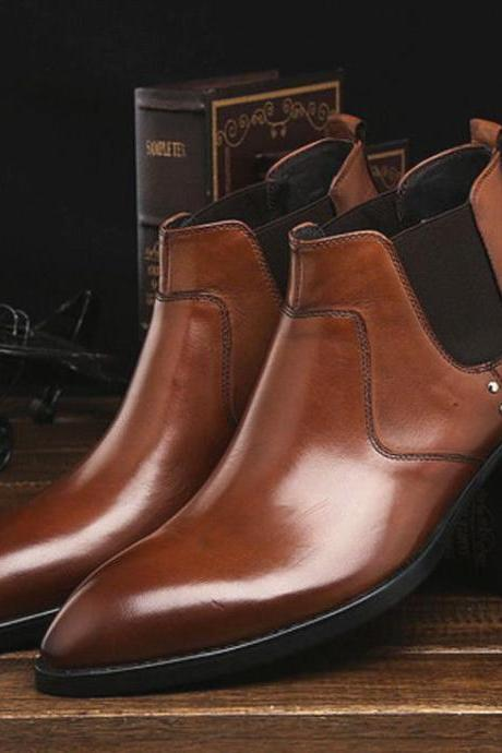 Handmade Mens New Fashion Genuine Leather Formal Designer Brand Ankle Boots