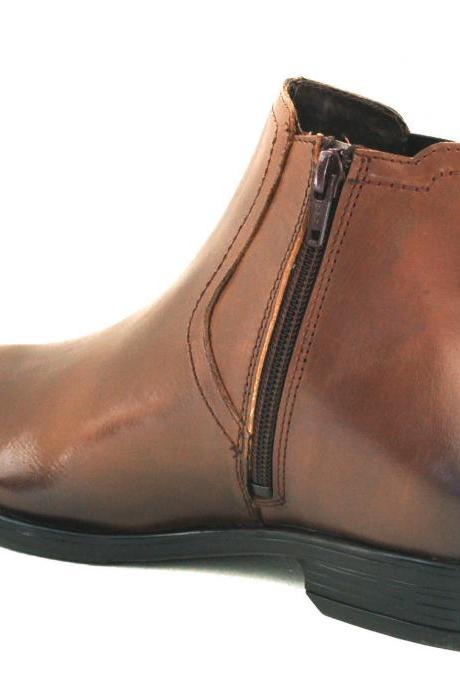 Handmade Mens Brown Chelsea Loafers Leather Boots With Side Slip On For Men