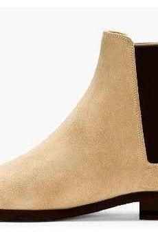 Handmade Mens Chelsea Beige Slip On Suede Leather Boots with Black Stretch