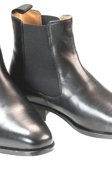 Handmade Mens Black Chelsea Pure Leather Sole Boots With Slip on For Men