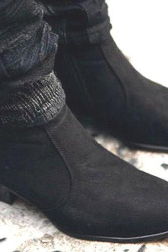 Handmade Mens Fashion Chelsea Boots Shoes Fashion Square With Heel Ankle