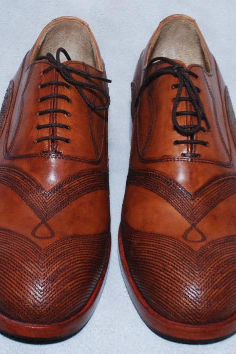 Handmade For Mens Brown Color Leather Sole fabulous Dress Shoes With Lace up