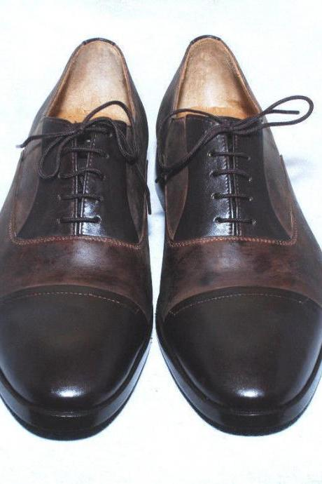 Handmade Mens Brown Black Oxford Leather Fashion Dress Shoes For Men