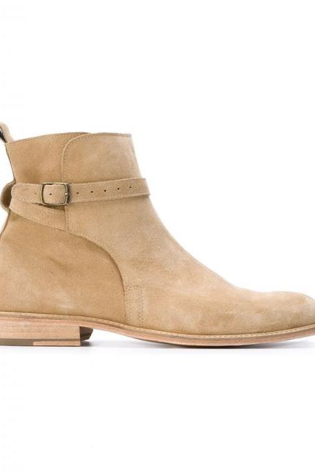 Made to Order Men Offwhite color Chelsea suede leather boots suede leather Shoes
