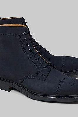 Handmade Mens Navy Blue Nubuck Leather High Ankle Leather Boots