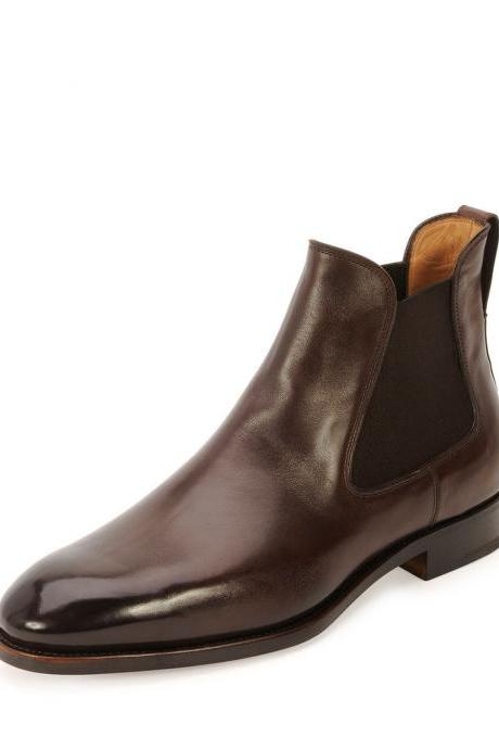 Handmade Mens Brown Clour Fashion Leather Boots With High ANKEL