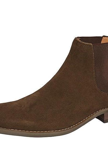 Handmade Mens Brown Ankle Fashion Suede Beautiful Leather Boots