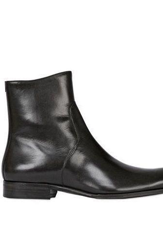 Handmade Mens BEAUTIFUL BLACK CLASSIC LEATHER BOOT WITH FULL ZIP UP