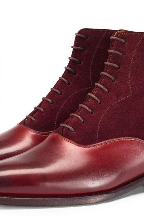 HANDMADE MENS BURGUNDY COLOR CHELSEA LEATHER BOOTS WITH Lace Up High Ankel Boots