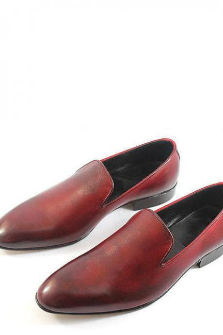 Handmade Mens Brown Formal Dress Loafers Leather Shoes