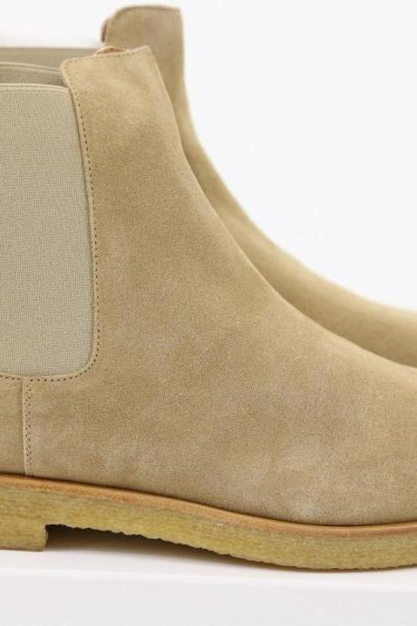 Made to Order Men Beige color Chelsea Suede Leather Boots Suede Leather Shoes