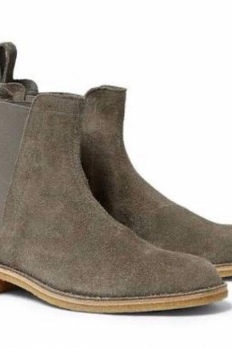 Men made to Order Chelsea Gray Suede Leather Pull On Ankle Boots Shoes