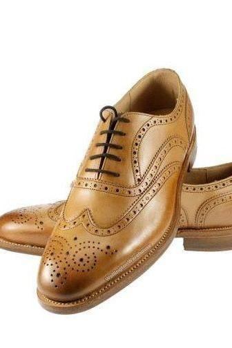 Handmade Men Tan Brown Color Oxford Dress Shoes With Laces Handmade Leather Sole