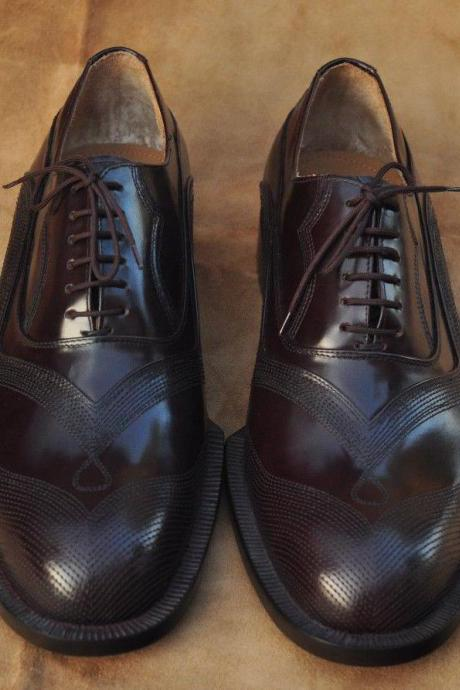 Handmade Mens Oxferd Brown Shine Color Pure Leather Sole Dress Shoes With Laces