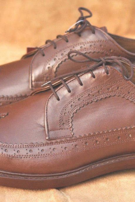Handmade Mens Brown Wingtips Oxferd Leather Dress Shoes With Roper Toe