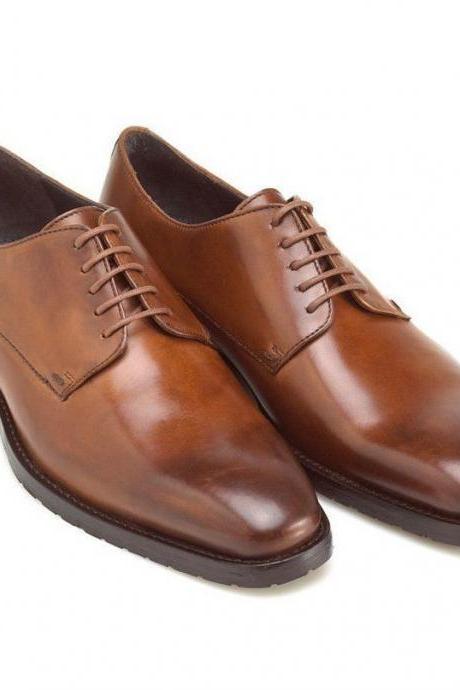 Handmade Men Brown Oxford Dress Shoes With Laces 2 Tone Brown Shade Shoes