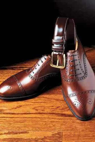 Handmade Mens Brown Oxford Dress Shoes With Laces Real Leather Shine Shoes