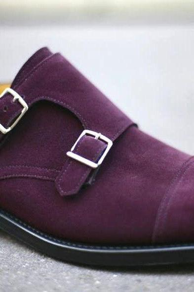 Handmade Mens Purple Monk Design Leather Sole Shoes With Monk Straps