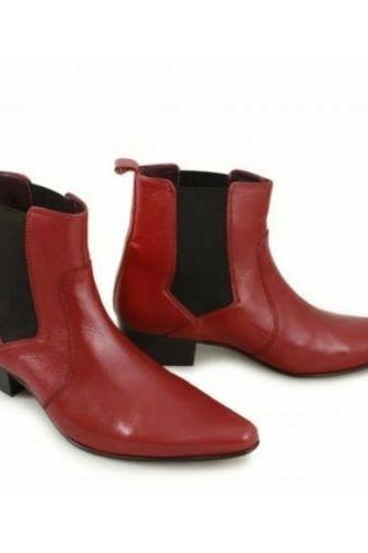 Men Handmade Cuban Heel Pointed Maroon Ankle boot Style TopFashion Leather Shoes