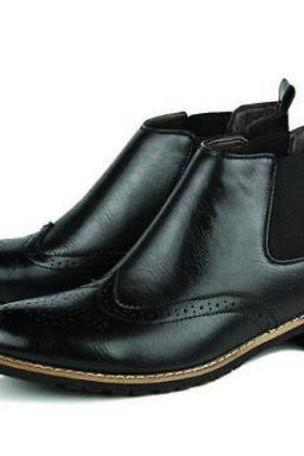 Men made to order Chelsea style handmade Black Leather Pull On Ankle Boots Shoes