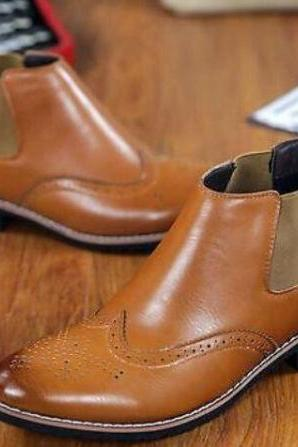 Men made to order Chelsea handmade Tan Brown Leather Pull On Ankle Boots Shoes