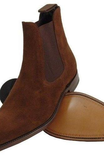 Made to Order Men Brown color Chelsea Suede Leather Boots Suede Leather Shoes