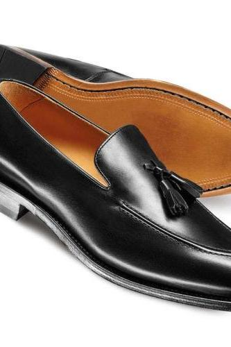 Made to Order Mens Black Loafer Leather Formel Dress Shoes, Man Handmade Shoes
