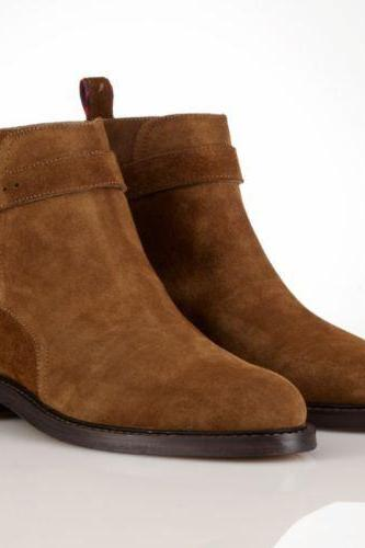 Made to Order Men Brown Suede leather Boots Top Fashion Ankle High Leather Boots