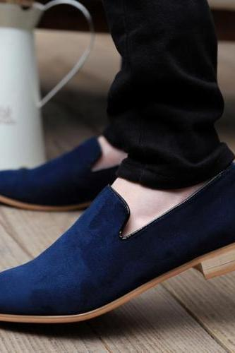 Handmade Men Blue Casual Loafer Suede Leather Shoes, Men Blue loafer Leather shoes