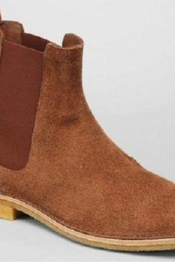 Made to order mens brown Chelsea Suede leather Boots With pull up High anke