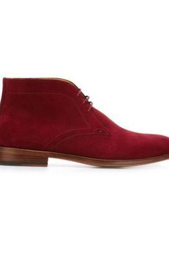 HANDMADE MENS BURGUNDY SUEDE LEATHER BOOTS WITH Pointed Heel High Ankel Shoes