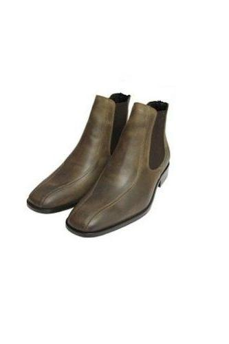 Handmade Mens Olive Green Chelsea Leather Boots