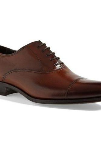 Handmade Mens Brown Oxford Dress Formal Leather Shoes