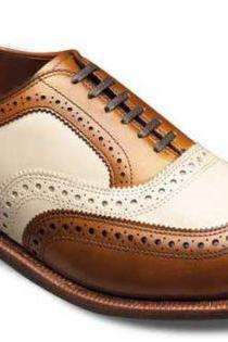 Handmade Mens BROGUE LEATHER BROWN AND WHITE SHOES