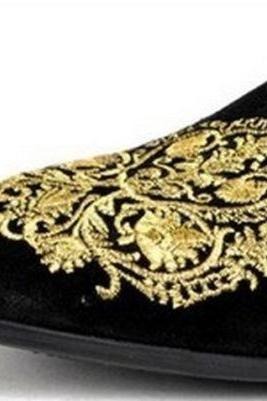 Handmade Mens MEN BLACK VELVET LOAFER EMBROIDERED SLIPPERS WITH LEATHER SOLE