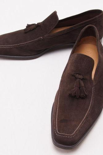 Handmade Mens Brown Suede Leather Mocassins Shoes
