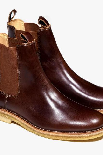 Handmade Mens Chelsea Leather Boots With Crepe Sole And Real Leather Ankle Boot