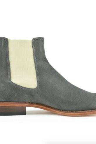 Handmade Mens Chelsea Suede Leather Boots
