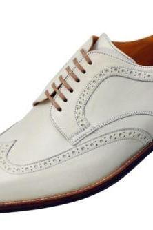 Handmade Mens White Wing Tip Brogue Formal Leather Dress Shoes For Men